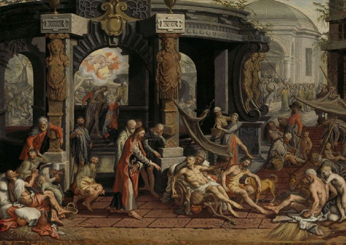 Aertsen, Pieter: The Healing of the Paralytic, Pool of Bethesda. Fine Art Print.  (004031)